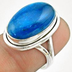 12.71cts solitaire natural blue apatite (madagascar) silver ring size 7 t55854