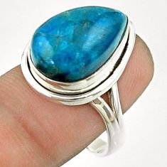 9.39cts solitaire natural blue apatite (madagascar) silver ring size 8.5 t55843