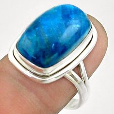 9.72cts solitaire natural blue apatite (madagascar) silver ring size 8.5 t55848