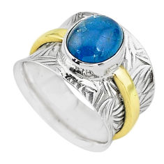 4.48cts solitaire natural blue apatite 925 silver two tone ring size 7 t15411