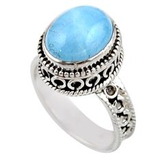 5.19cts solitaire natural blue aquamarine 925 silver ring size 7.5 r51848