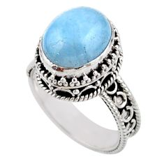 5.01cts solitaire natural blue aquamarine 925 silver ring size 7.5 r51849