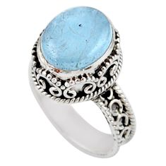 4.82cts solitaire natural blue aquamarine 925 silver ring size 6.5 r51854