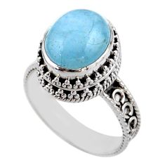 4.99cts solitaire natural blue aquamarine 925 silver ring size 8.5 r51858