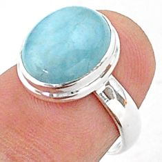 4.93cts solitaire natural blue aquamarine 925 sterling silver ring size 6 t38301