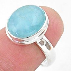4.93cts solitaire natural blue aquamarine 925 sterling silver ring size 6 t38302