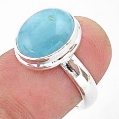 4.92cts solitaire natural blue aquamarine 925 sterling silver ring size 6 t38303
