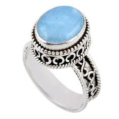 5.18cts solitaire natural blue aquamarine 925 sterling silver ring size 7 r51845