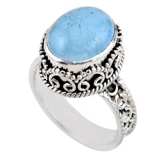 4.81cts solitaire natural blue aquamarine 925 sterling silver ring size 7 r51851