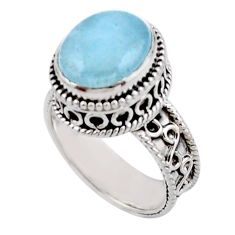 5.18cts solitaire natural blue aquamarine 925 sterling silver ring size 7 r51859