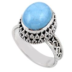 5.19cts solitaire natural blue aquamarine 925 sterling silver ring size 8 r51846