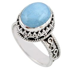 4.81cts solitaire natural blue aquamarine 925 sterling silver ring size 8 r51852