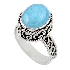 4.71cts solitaire natural blue aquamarine 925 sterling silver ring size 8 r51856