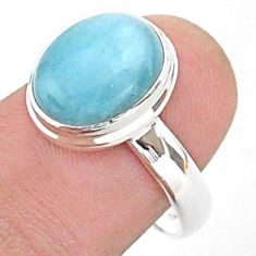 4.69cts solitaire natural blue aquamarine 925 sterling silver ring size 8 t38305