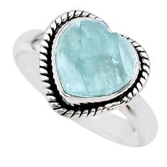 4.84cts heart natural blue aquamarine 925 sterling silver ring size 9 t21682