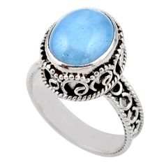 5.28cts solitaire natural blue aquamarine oval 925 silver ring size 7.5 r51842