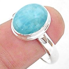 5.34cts solitaire natural blue aquamarine oval 925 silver ring size 10 t38309