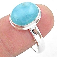 5.31cts solitaire natural blue aquamarine oval 925 silver ring size 10 t38310