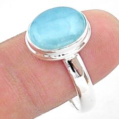 5.12cts solitaire natural blue aquamarine oval 925 silver ring size 10 t38311