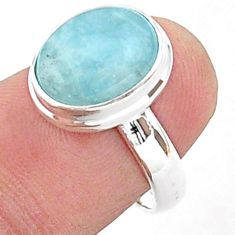 4.93cts solitaire natural blue aquamarine oval 925 silver ring size 6.5 t38306