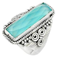 7.99cts solitaire natural blue chalcedony 925 sterling silver ring size 8 t10385
