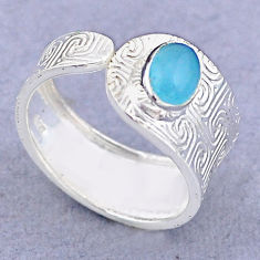 1.42cts solitaire natural blue chalcedony silver adjustable ring size 8 t47382