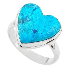 13.85cts solitaire natural blue chrysocolla 925 silver ring size 10 t17905
