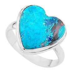 13.55cts solitaire natural blue chrysocolla 925 silver ring size 10 t17911
