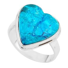 14.93cts solitaire natural blue chrysocolla 925 silver ring size 10 t17916