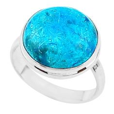 14.40cts solitaire natural blue chrysocolla 925 silver ring size 10 t17917