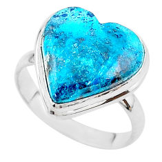 16.12cts solitaire natural blue chrysocolla 925 silver ring size 11 t17912