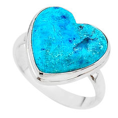 14.33cts solitaire natural blue chrysocolla 925 silver ring size 10.5 t17902