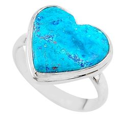 13.85cts solitaire natural blue chrysocolla heart 925 silver ring size 10 t17906