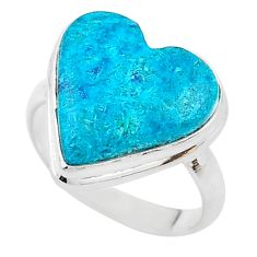 15.29cts solitaire natural blue chrysocolla heart silver ring size 9.5 t17909