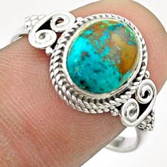 3.91cts solitaire natural blue chrysocolla oval 925 silver ring size 9 t57482