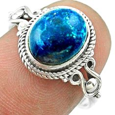 4.33cts solitaire natural blue chrysocolla oval 925 silver ring size 7.5 t57464