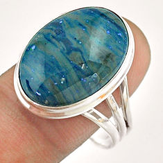 14.14cts solitaire natural blue copper slag 925 silver ring size 11 t54520