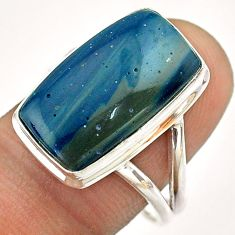 12.08cts solitaire natural blue copper slag 925 silver ring size 9 t54514