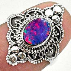 1.63cts solitaire natural blue doublet opal australian silver ring size 6 t30661