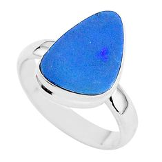 4.34cts solitaire natural blue doublet opal australian silver ring size 6 t3411