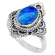 2.17cts solitaire natural blue doublet opal australian silver ring size 7 t27563