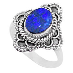 1.92cts solitaire natural blue doublet opal australian silver ring size 7 t27566