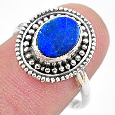 2.42cts solitaire natural blue doublet opal australian silver ring size 8 t27401