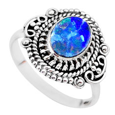2.01cts solitaire natural blue doublet opal australian silver ring size 8 t27443