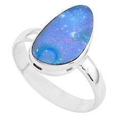 4.63cts solitaire natural blue doublet opal australian silver ring size 9 t3406