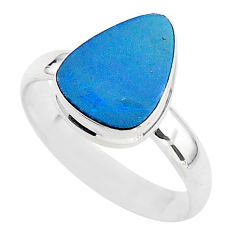 4.18cts solitaire natural blue doublet opal australian silver ring size 9 t3407