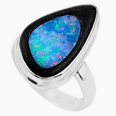 11.23cts solitaire natural blue doublet opal in onyx silver ring size 7.5 t10457