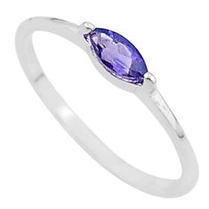 1.35cts solitaire natural blue iolite 925 sterling silver ring size 6.5 t12238