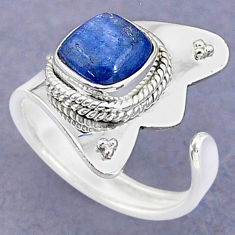 3.32cts solitaire natural blue kyanite 925 silver adjustable ring size 7 t8733