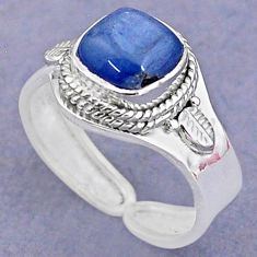 3.13cts solitaire natural blue kyanite 925 silver adjustable ring size 8 t8727
